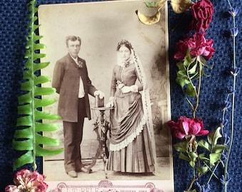 Antique Cabinet Photo - Wedding Photo - Bride - Old Photo - Flowers- Decorah - Iowa - 1800's -Photography