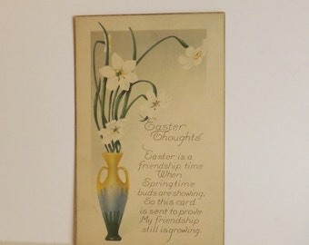 Antique Easter postcard Art Nouveau flower vase with daffodils and poem