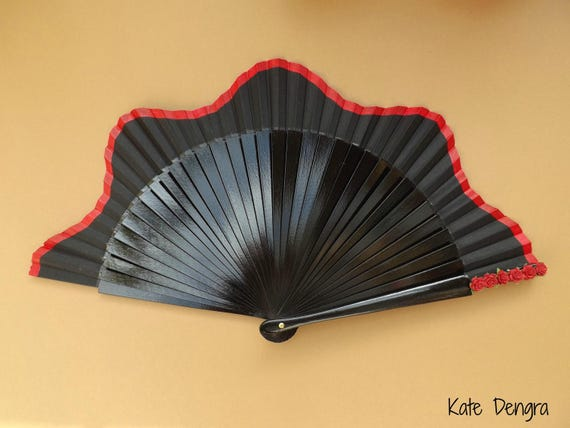 Gothic Black Fan Wood SIZE OPTIONS  Red Shaped Fabric Hand Fan with Colored Band Colored Mulberry Flowers on Main Grip by Kate Dengra Spain
