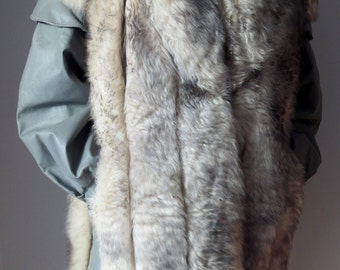 Sheep fur coat, fur and leather coat from the 1980's