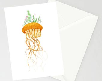 Plant Jellyfish A6 greetings Card