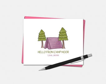 Camp Note Cards for Kids - Pine Forest Camp - Custom Stationery for Kids | personalized summer camp children camping tent trees