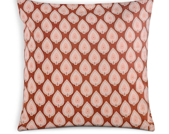 Rust and White Block Printed Cotton Cushion Cover - Handmade Cotton Throw - Decorative Pillow Cover/Cushion Cover