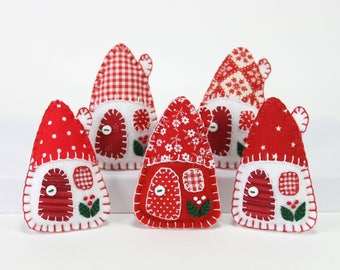 Felt Christmas Ornaments Handmade House Scandinavian Red And White Holiday Decorations Tiny Houses