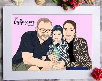 Custom Family Portrait, Family Portrait, Couple Portrait,  Family Illustration, Custom Portrait, Family Art, Printable, Digital Files
