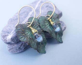 15% Vedigris Brass Leaves and Glass Earrings
