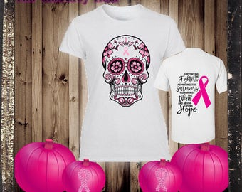 Personalized Breast Cancer Awareness Skull Tee