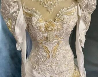 Vintage Wedding Dress, Wedding Dress, White Wedding Gown, Wedding Gown, Vintage 80's Bridal Gown With Train, San Martin Bridal Beaded