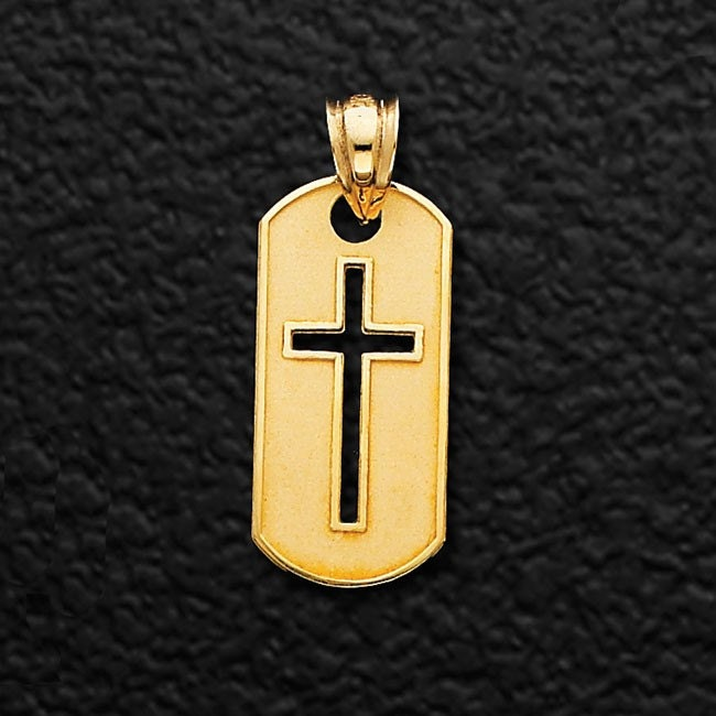 14k yellow gold cross dog tag pendant cross pendant dog tag zoom aloadofball Gallery