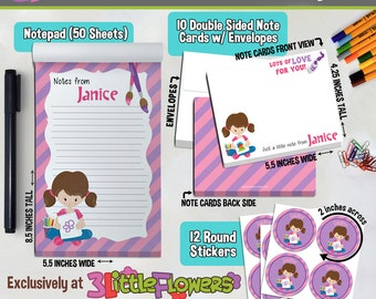 Artist Girl Personalized Stationery Set - Personalized Children Stationery Set - Gift for Girls - Mini me Stationery - Art Party Stationery