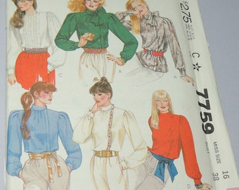 sz 16 Uncut McCalls 7759 Blouse Pattern 1981
