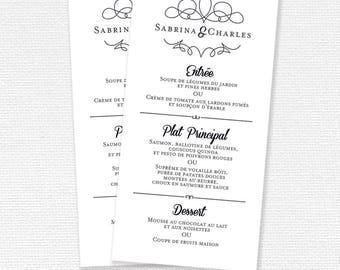 Wedding menu, Custom Menu printable Menu, wedding Menu printable, printable (#03) wedding stationery