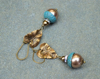 ERSTWHILE ACORN X~~bronze Swarovski crystal pearls and Czech glass antique brass earrings