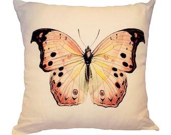 Peach Butterfly Linen Pillow