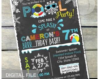 "Winter Pool Birthday Party Chalkboard Invitation Snow Indoor Pool Party - Blue - DIGITAL Printable Invite - 5"" x 7"""