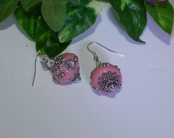 Earrings Indian beads to choose pink, white or turquoise
