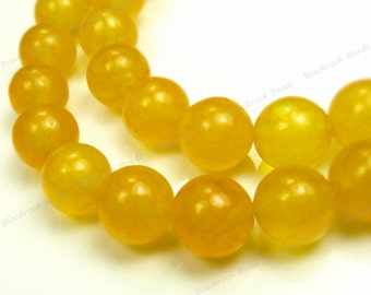 6mm Golden Yellow Jade Round Gemstone Beads - 15.5 Inch Strand - BG9