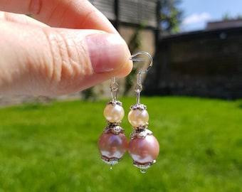 Pearl Earrings, Peach Earrings, White Earrings, drop earring, handmade jewellery