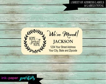 New Home We've We Have Moved Moving Home Sweet Home ~ Any Color Background ~  Return Address Labels Personalized Custom