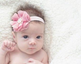 Dusty Rose Headband, Baby Headband,  Infant Headband, Newborn Headband - Dusty Rose Headband, Mauve Headband,Chiffon and Pearls Headband