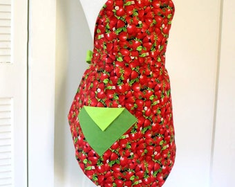Womens Vintage Apron Strawberries Apron