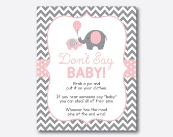 Instant Download, Elephant Don't Say Baby, Diaper Pin Clothes, Elephant Baby Shower Pin Game, Pink Gray Chevron, Little Peanut, Girl(SBS.36)