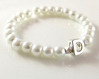 Flower Girl Bracelet- Silver Personalized Baby Bracelet-Flower Girl Gift - Stretch Bracelets for Toddlers - Silver Initial Bracelet Kids