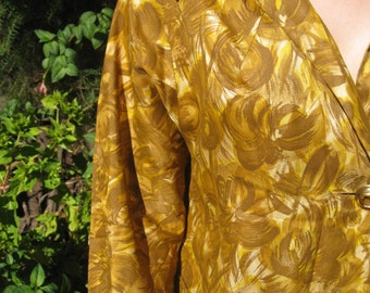 1960s autumn colours light weight hooded coat - Sz M