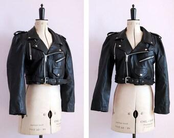 Vintage 1980s 90s cropped black leather biker jacket - Womens leather jacket - Biker jacket - Perfecto - Brando - Motorcycle jacket - Sm Med