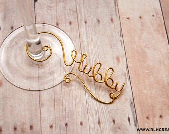 Personalized Wine Charms / Wine Charms / Bridal Shower Party Gift / Wine Name Charm / Bridesmaid Gift / Personalized Glass Charm / Wine Love