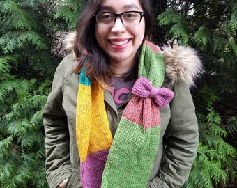 Knitted Scarf / Green / Magenta / Aqua / Yellow / Coral / Winter Scarf / Bow / Handmade / Infinity Scarf / 100% Repurposed / Free Shipping