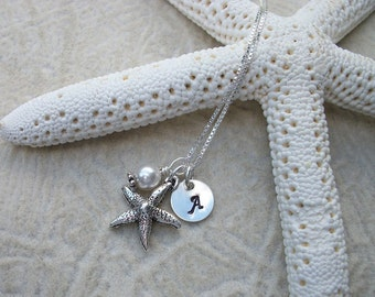 Island or Beach Destination Wedding - Flower Girl Necklace - Starfish, Pearl, and Stamped Initial Sterling Silver Necklace