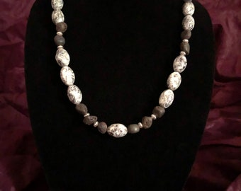 Black Volcanic Lava Stone Beaded Necklace Glass Bead Mixed With Silver Accent