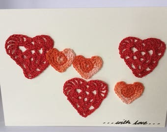 Birthday card with crochet hearts - with love