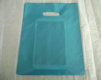 50 Pack 9X12 Teal/Blue Merchandise Bags Glossy Handles Low Density Handle Gift Bags