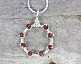 Garnet Circle Necklace, Dainty Necklace, Infinity Karma Circle Outline Birthstone Jewelry Silver Wire Wrapped Pendant Natural Gemstone RTS