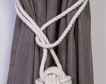 Cotton Rope Monkey Fist Knot Tie-backs / Nautical curtain tiebacks/ white hold-backs / curtain ties / ball curtain tie-backs / ivory rope