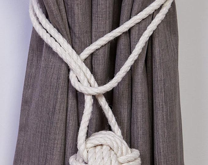 Cotton Rope Monkey Fist Knot Tie-backs / Nautical curtain tiebacks/ white hold-backs / curtain ties / ball curtain tie-backs / ivory rope