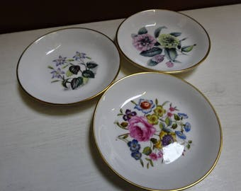 Trio of Very Pretty Royal Worcester Bone China Pin Dishes/Trinket Dishes/Ring Dishes/Collectable/Vintage