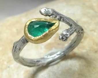 Emerald Ring, Emerald, 22 kt gold and silver twig ring, Silver, emerald and gold Statement ring, gemstone branch ring