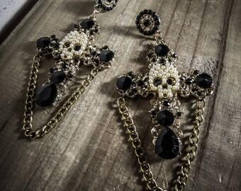 Golden earrings cross Pearly Skull by Daria