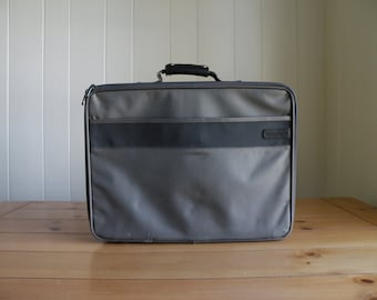 Brown and Gray Vintage Adidas Hard Sided Nylon Briefcase Laptop Case