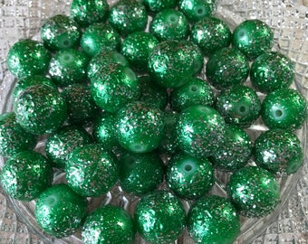 20mm Chunky Beads , Green Glitter Wrinkled Pearl Chunky Beads , 10pc bead set , Wholesale beads , Gumball beads