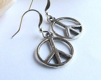 Peace Sign Silver Earrings, Silver Peace Sign Earrings, Hippie Earrings, Peace Sign Earrings, Peace Earrings, Clipons, Clip ons