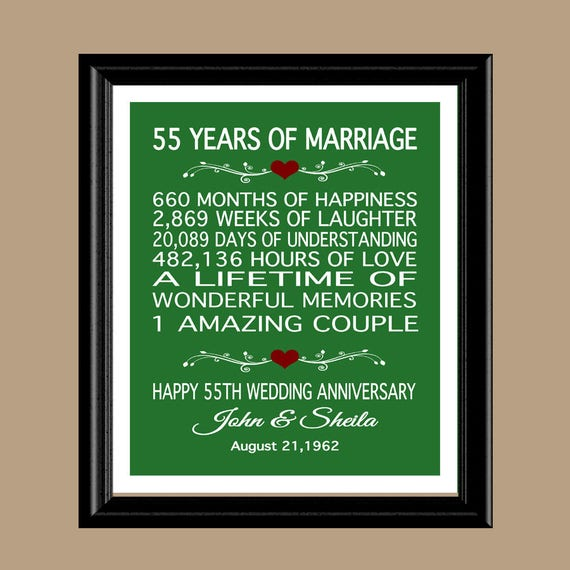 Anniversary present 55 years wedding
