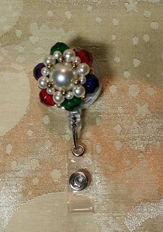 Bejeweled Vintage Retractable Badge Holder