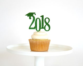 Graduation Party Decorations - Graduation Cupcake Toppers - Class of 2018 Cupcake Toppers - Congrats Grad - 2018 Cupcake Toppers
