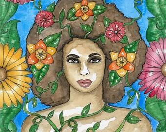 Pagan Art Ostara Spring Goddess Art Print Spring Equinox Sabbat Fantasy Art Wheel of the Year Divine Sacred Feminine Spiritual Altar Art