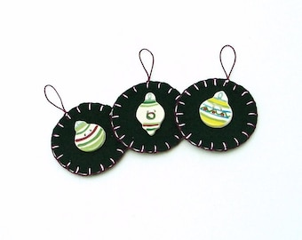 Hand Sewn Christmas  Ornaments with Ceramic Buttons - Set of 3
