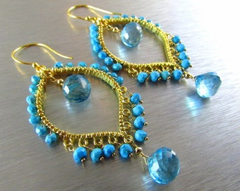 15 Off Blue Quartz With Turquoise Gold Bohemian Style Earrings